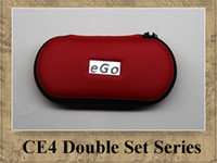 Wholesale Kit Double Ego Tank - CE4 EGO KIT DOUBLE STARTER KITS ELECTRONIC CIGARETTE ZIPPER CASE 650MAH 900MAH 1100MAH 2 ATOMIZER 2 BATTERIES EGO-T TANK DHL 9 colors