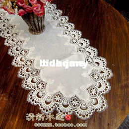 Wholesale White Table Overlays - Wholesale - Free shipping Fashion lace table runner white satin tablecloths oval silk damask cover for sofa cutout embroidery overlay cover