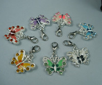 MIC 42Pcs Mix Color Silver Plated Enamel Rhinestone Butterfly Charms Pandents 22X34mm E Lobster Clasp b99
