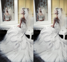 Wholesale Michael Cinco Dresses - Newest Luxurious Michael Cinco Wedding Dresses With Sweetheart Crystals Beads Backless Pleat Chapel Train Tulle Customed Bridal Gowns 2014