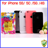iphone 5s t mobile venda por atacado-Para iphone 5s 5c 5g 4s genuíno r-sim 9 pro desbloquear ios7 ios5 suportado gsm + wcdma + cdma sprint t-mobile virgem docomo