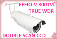 Wholesale Dual Ccd Camera - Free DHL Security CCTV True WDR SONY EFFIO-V 800TVL Dual CCD waterproof IR Camera 2.8-12mm varifocal lens with 48pcs IR Led with bracket