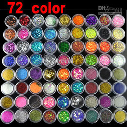Vente en gros - Nail art 72 Pots 6 Types de Brillant Décoration Poudre Crush Shell Bead # 2435 à partir de fabricateur