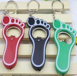 Wholesale Luminous Keychain - NEW 80pcs 1lot   Cute lover couple Keychain Key Chain Wedding favor gift Little feet luminous A bottle opener Random color cv11