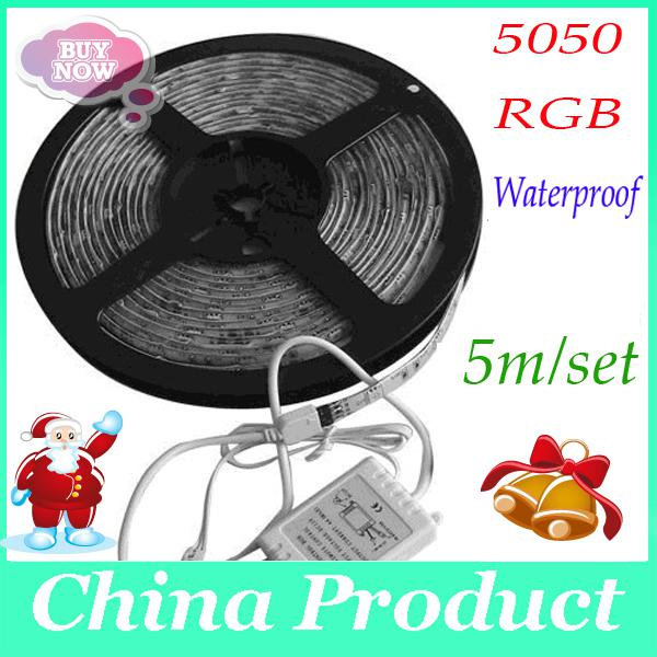 top popular 5050 RGB 60LED LED Strip Light Waterproof 5M roll DC 12V Flexible 300led with remote controller and 2A 000076 5m set 50pcs 2019