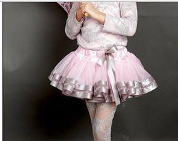 Wholesale Girls Fluffy Pettiskirts Tutu - Children Short Skirt Gauze Ribbon Baby Girls Tutu Skirt Ball Gown Princess Dance Fluffy Pettiskirts Kids Skirt QZ256