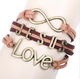 "Wholesale I Love Korean - 2016 hot fashion Korean bracelet redeeming love bracelet- ""I LOVE JESUS"" on Brown Leather free shipping"