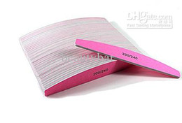 Wholesale Sunshine Style - Wholesale - Top Quality Pink Meniscus Style Nail File Sunshine Buffer 200 240 Manicure Tools 50 Pcs Lot