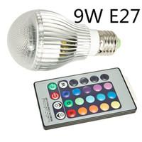 Wholesale B22 Led Remote - High Power 9W E27 LED Light GU10 LED Bulb B22 E14 Bulb Light E26 AC90-260V Colorful LED RGB Light Bulb Lamp + 24-key Infrared Remote Control