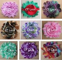 "Wholesale Shabby Flower Wholesale Usa - Free USA ePacket CPAP 100pcs lot 37 solids and 99 prints 2.5"" shabby frayed chic chiffon flower ,shabby chic rose headband flower"