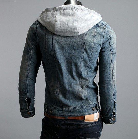 Chaqueta de la capa delgada Azul Denim lavado de los nuevos hombres calientes con capucha desmontable con gorra de hombre Abrigo tamaño S-5XL