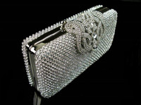 Wholesale Silver Wristlet Purse - New Fashion Crystal Rhinestone Ladies Wedding Party Bridal Silver Black Clutch Evening Bag Hand Beads bags Shoulder Purse Wallet Makeup Kit
