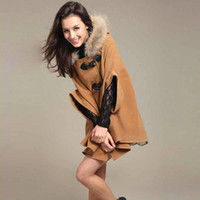Wholesale Womens Hooded Fur Cape - S5Q Womens Hooded Poncho Cape Coat Winter Warm Fur Shawl Wool Coats Cloak AAACQH