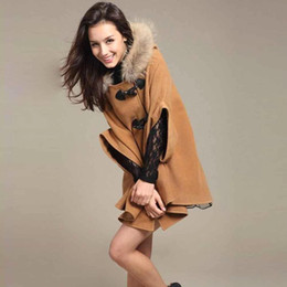 Wholesale Womens Shawl Coat - S5Q Womens Hooded Poncho Cape Coat Winter Warm Fur Shawl Wool Coats Cloak AAACQH