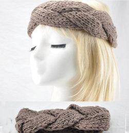 Wholesale Turban Headband Wrap Cap - FASHION GIRLS WOMEN Headband Beanie Ear Warmer Handmade Knitted Crochet head wrap turban bow hairband Boutique cap hat 12colors hair jewelry