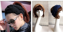 crochet bows wholesale 2019 - NEW FASHION GIRLS WOMEN Headband Beanie Ear Warmer Handmade Knitted Crochet head wrap turban bow hairband Boutique cap 1