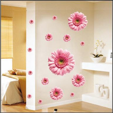 Bedroom, Living Room TV Backdrop Romantic Wedding Room Mirror Daisy ...