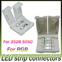 Wholesale 8mm Rgb Strip Connectors - New led strip connectors for 8mm 3528 and 10mm 5050 smd and 4pin DC RGB 5050 LED strips light no welding quick led