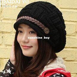 Discount wholesale korean cap - 2016 new fashion Korean fashion ladies belt curling winter wool cap knitted hat ear warm hat factory wholesale A327