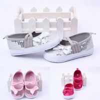 Wholesale White Canvas Shoes For Toddlers - Baby Canvas Sequined Shoes Bowknot Antiskid Sole Girl Leisure Shoes For Toddler Infant DNL*5