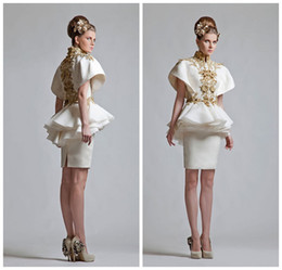 Chinese sexy Crystal dress online shopping - New Retro High Neck Short Sleeves Appliqued Chinese Wind Appliqued Mini Evening Cocktail Dress Nice Wedding Dresses MD116