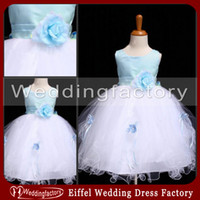 Wholesale Girls Pink Puffy Dresses - Ankle Length Flower Girls Dresses with Handmade Flower and Ribbon Ball Gown Jewel Puffy Dress in Blue and White for Weddings