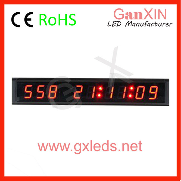 [Ganxin]Wholesale1 inch 9 Digit High Quality Red Tube Led Clock Day Countdown 999 Days Timing Wall Clock with Indoor Led Display