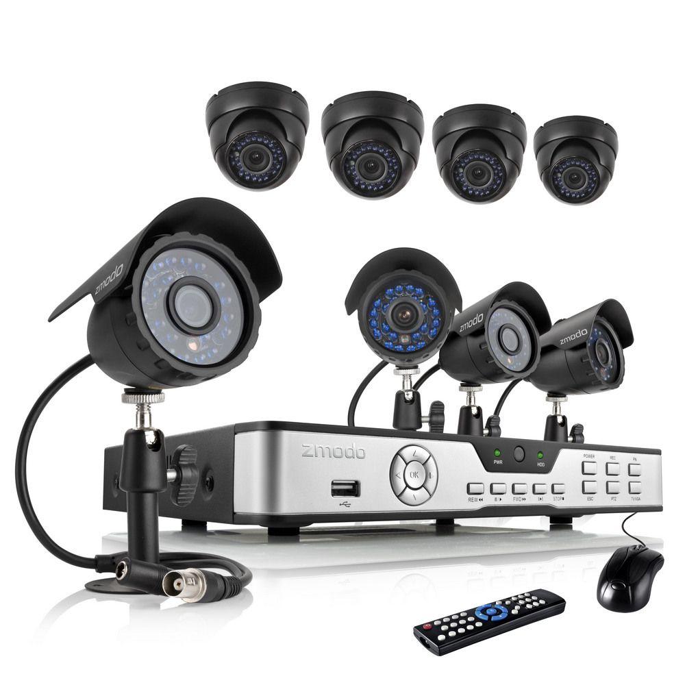 2017 Zmodo 600tvl Home Camera Security System 8 Ch Dvr Cctv Kits 4 ...