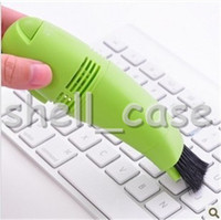 Wholesale Small Computer Vacuum Cleaners - Newest Christmas Mini Computer Vacuum Black Small USB Brush Flexible Rubber Computer PC Keyboard Cleaner With Retail Package Free Shipping