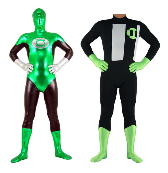 Adult Green Lantern Costume Zentai Bodysuit Style Skin-tight Shiny Spandex YKK
