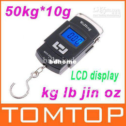Wholesale Digital Hanging Weighing - Wholesale - 50kgx10g 50kg 10g 50kg-10g Mini Hanging Weighing Luggage Digital Scale,5pcs lot,freeshipping, drop