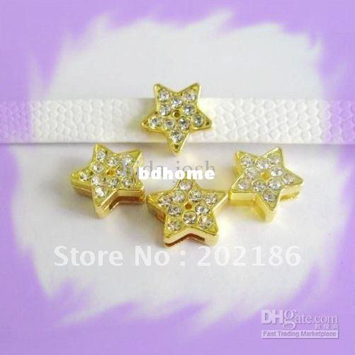 Wholesale - 100pcs 8mm Gold Color Star Slide Charms Fit Pet Dog Cat Tag Collar Wristband