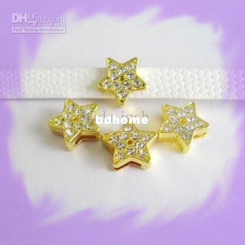 100pcs 8mm Gold Color Star Slide Charms Fit Pet Dog Cat Tag Collar Wristband
