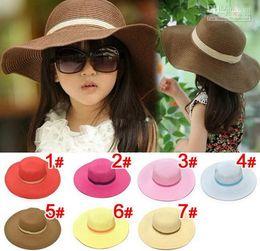 cappelli di paglia dei bambini Sconti spiaggia bambini bambino ragazza  cappello da sole del fiore del 1ac56ee28f38
