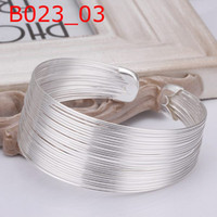 Wholesale Hot Sale Jewellery - TOP Sale NEW Bright Lovely Christmas gift jewellery 925 sterling Silver fashion Beautiful jewelry Pretty CHAIN bangle Bracelet Hot B023
