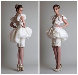 $enCountryForm.capitalKeyWord Canada - Sheer Neck Beaded Applique Sheath Wedding Dresses 2019 Krikor Jabotian Layers Peplum Mermaid Bridal Dress Button Back Cocktail Formal Dress