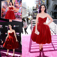 Wholesale Katy Perry Evening Dresses - Katy Perry Hot Red Velvet Sweetheart Pleats Tea Length Celebrity Gown Cocktail Dress Evening