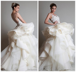 Wholesale One Shoulder Organza Wedding Dresses - 2015 Zuhair Murad One Shoulder Appliques Ruffle A Line Organza Wedding Dresses In Dubai Arabic Wedding Dress 2014 Wedding Dresses MD123