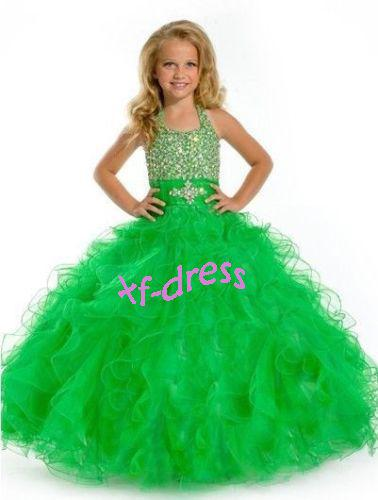 Lovely Girls Kids Halter Green Pageant Dress Bridesmaid Party ...