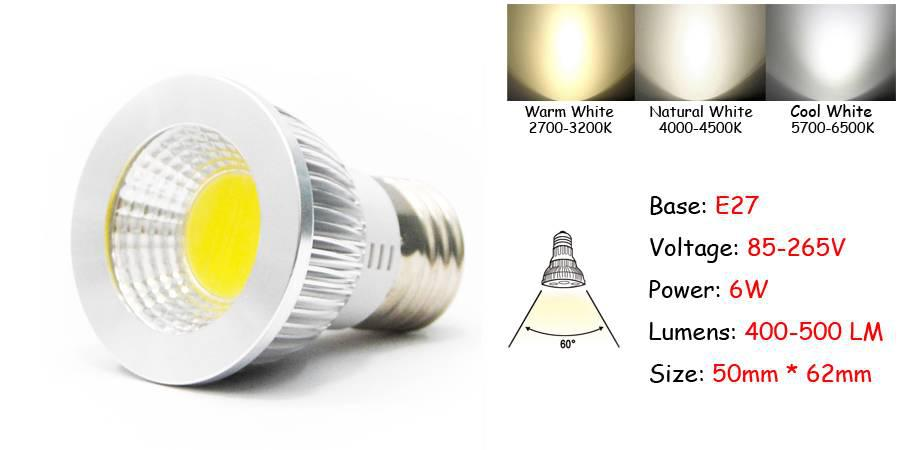 New Ultra Brillante LED Bulbs COB Light MR16/GU10/E27 Dimmable 6W 9W 12W CE Certificate New With Tags Retail Package Dropship