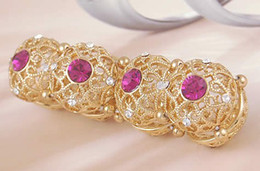pink crystal yellow gold lady's bracelet (ma52)