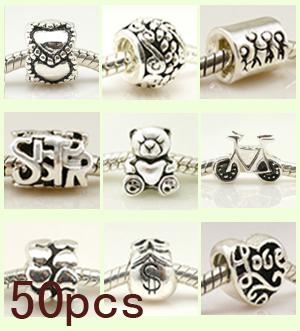 925 Sterling Silver beads charms Fit Troll Chamilia Biagi Chamilia Bracelet 50 pcs Mix Lot Wholesale