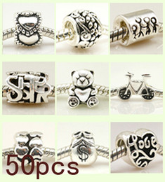 Troll armbänder charme online-925 Sterling Silber Perlen Charme Fit Troll Chamilia Biagi Chamilia Armband 50 Stück Mix Lot Großhandel