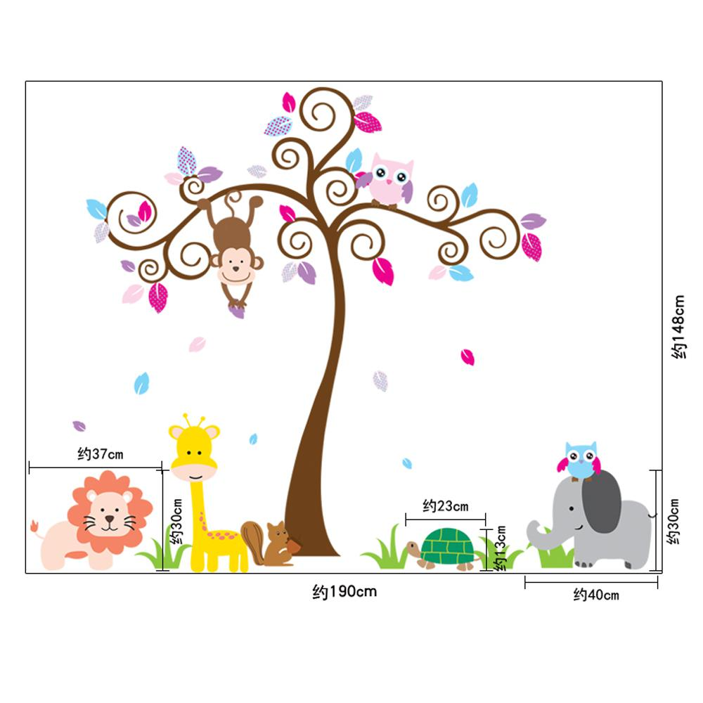 cartoon animal wall stickers children room decoration wall sticker see larger image