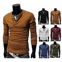 Wholesale V Neck Tee Shirts - S5Q New Man Compression Top Henley Neck Long Sleeve Casual Male Tee T-Shirts Blouse AAACSE