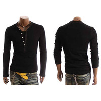 Wholesale Tan Shirts - S5Q New Mens Fashion Casual Slim fit Long Sleeve T-shirts AAACSC