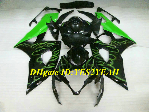 Hi-Quality Injection mold Fairing kit for SUZUKI GSXR1000 K5 05 06 GSXR 1000 2005 2006 ABS Green flames black Fairings set+Gifts SE22