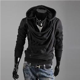 Wholesale Men Slant Hoodie - 2016 new men's slim pile up-collar slanting-zipper hoodie jacket coat overcoat black gray white 700W18