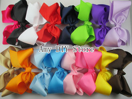 Wholesale Big Tiaras - boutique hair bows baby hair headband 6'' big ribbon bows baby girls hair accessories for baby headband hair band princess-50pcs HJ008