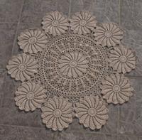 Wholesale Crochet Runners - wholesale 100% cotton Handmade vintage look Crocheted placemat runner Crochet Doilies White Ecru 80x80cm Cotton 100%